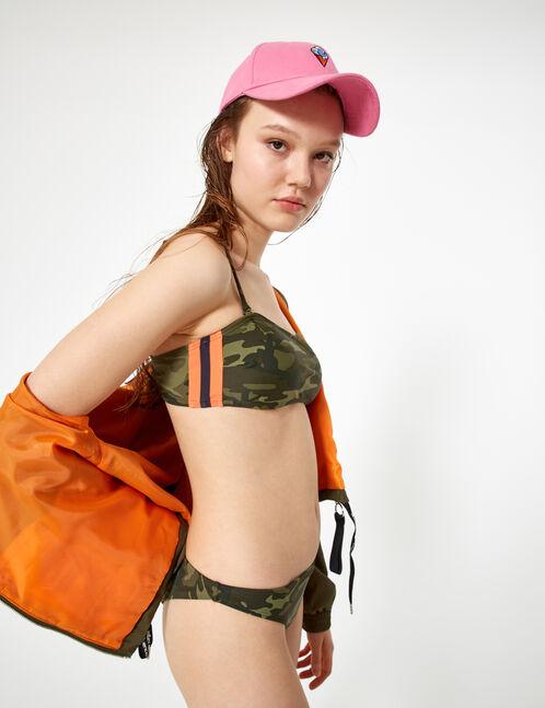 maillot de bain 2 pièces camouflage kaki
