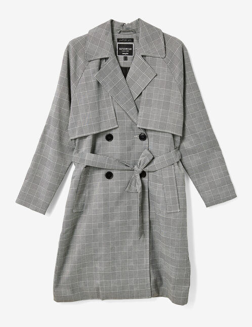 Black and white glen check trench coat