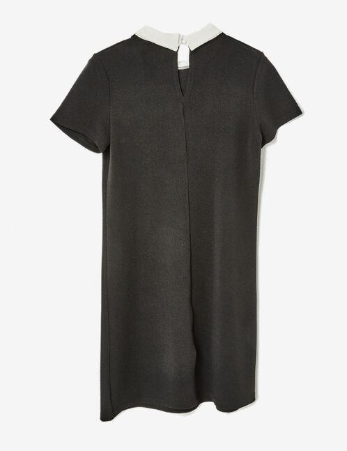 robe texturée avec col blanc noire
