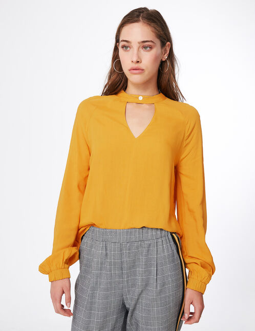 Ochre blouse with open detail