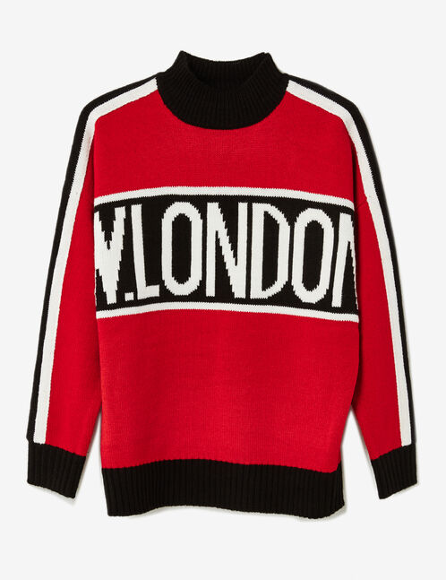 "Red tricolour ""W.London"" jumper"
