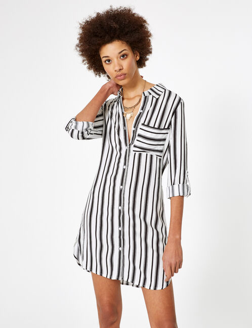 White and black striped shirt dress