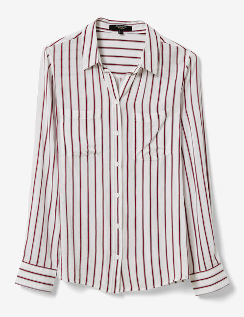 White, burgundy and navy blue striped shirt