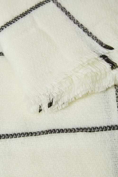 écharpe plaid écrue et noire