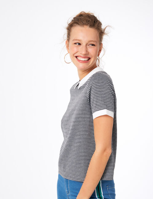 Black and grey T-shirt with white collar detail