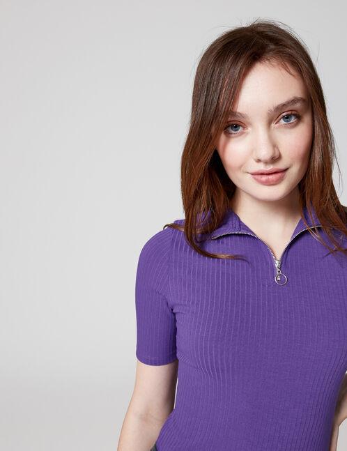 Purple zipped T-shirt