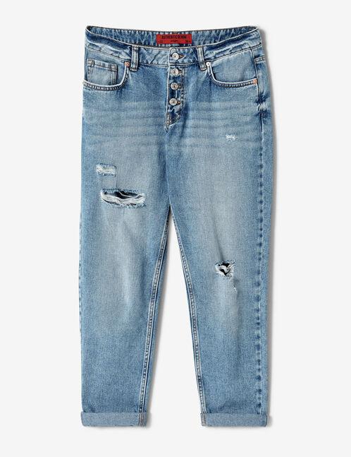 Light blue distressed boyfriend jeans