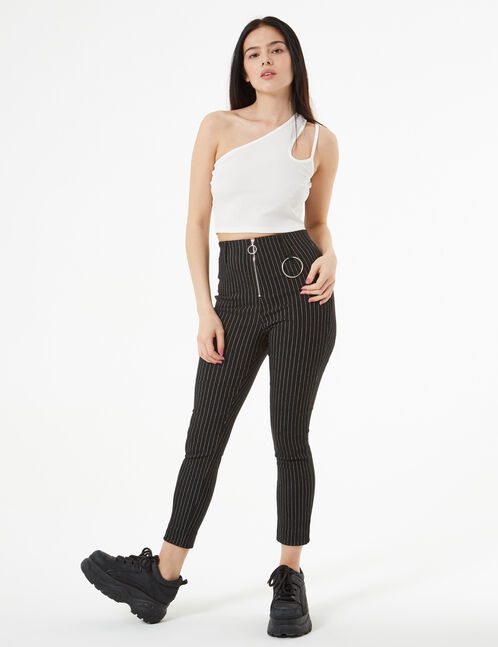 striped pants with loops