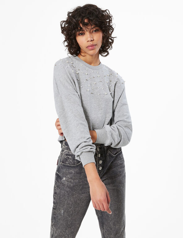 Cropped sweatshirt with beading