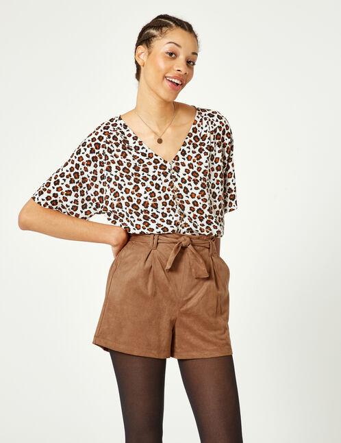 Camel faux suede shorts