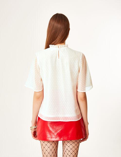 blouse plumetis brodée écrue