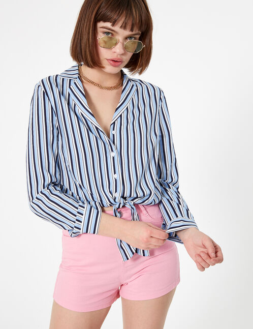 Light blue, navy blue and white striped tie-fastening shirt