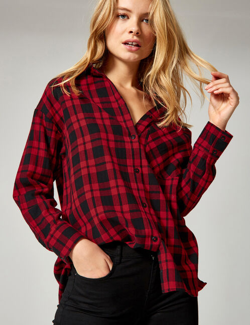 Black and red checked blouse