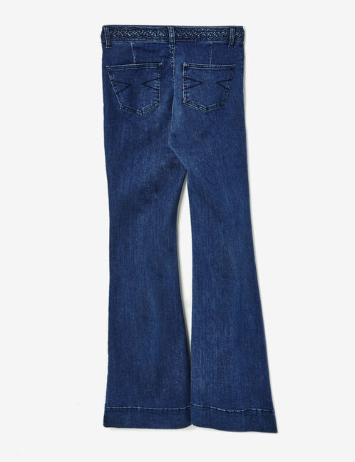 jean flare avec tresse medium blue