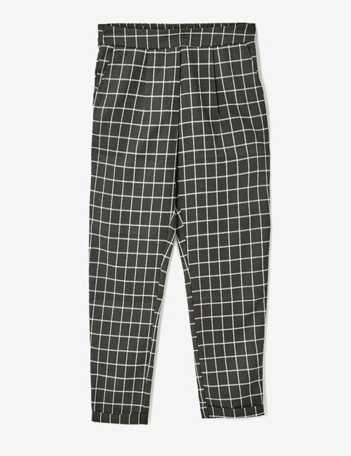 pantalon ville à carreaux noir
