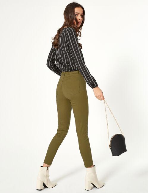 Khaki trousers with belt
