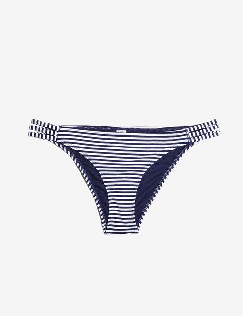 Navy blue and cream striped bikini briefs with strap detail