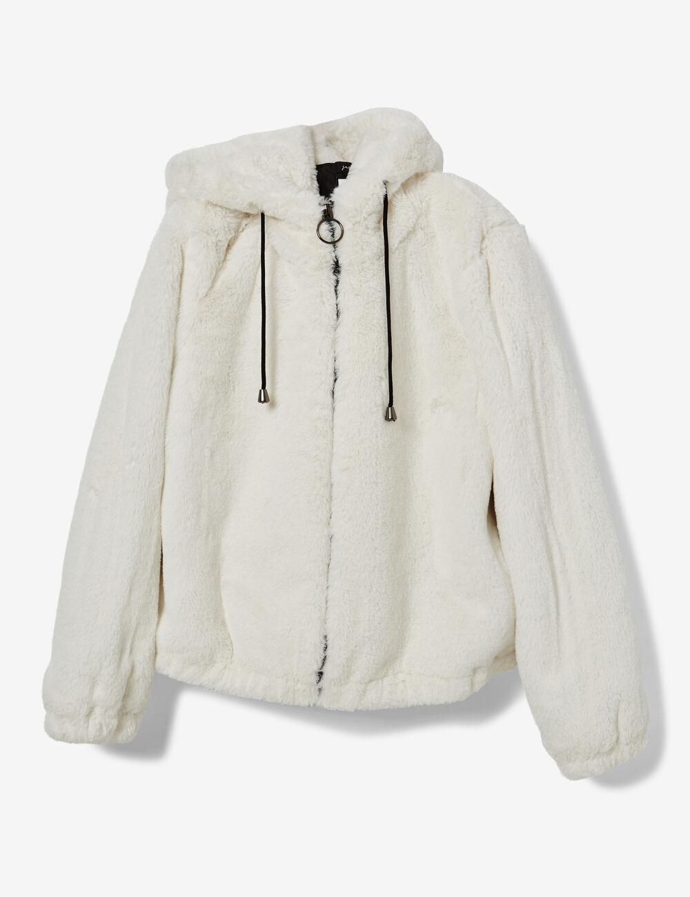 Fourrure Manteau Femme Qbi0wcxt Blanc Fausse XikZwOPuT