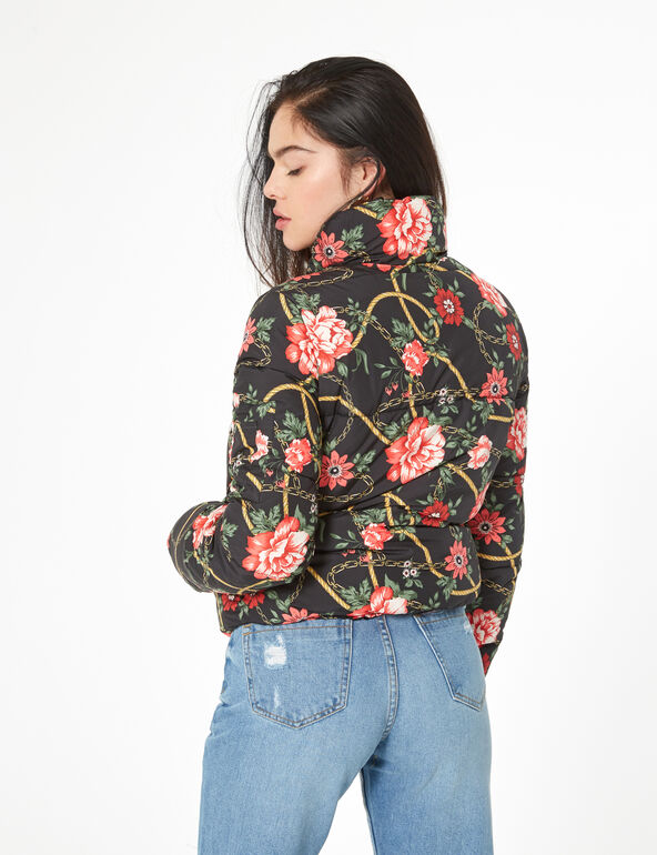Black floral padded jacket