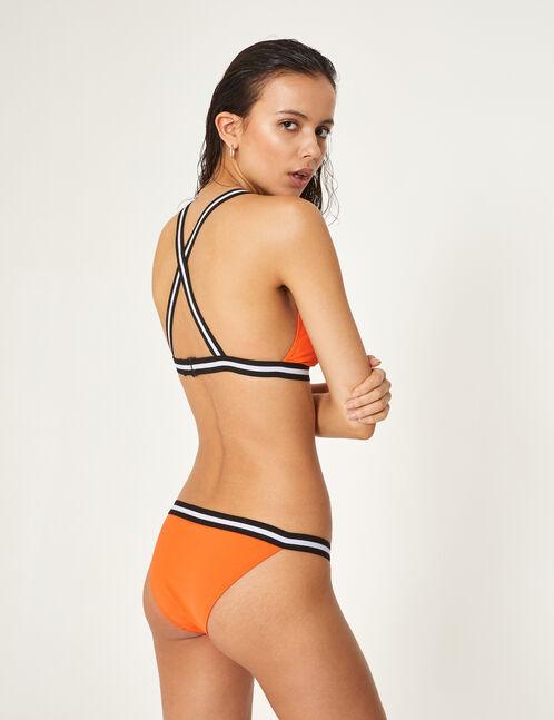 maillot de bain 2 pièces avec rayures orange, noir et blanc