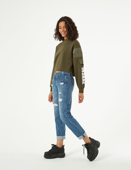 sweatshirt with inlays