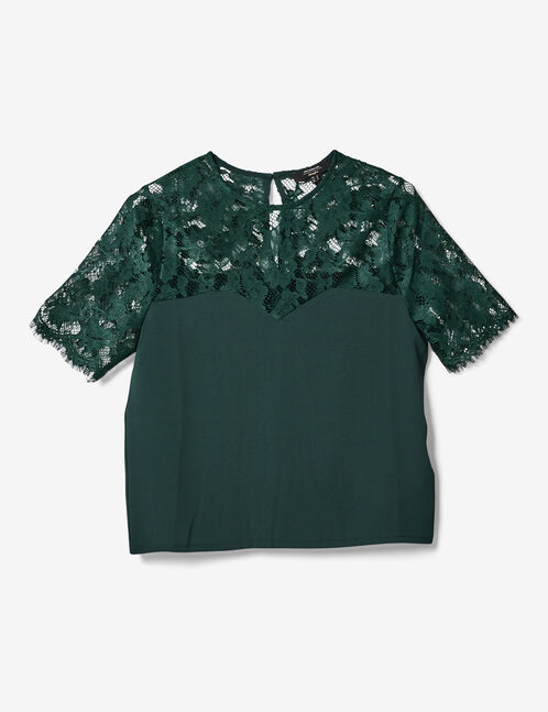 Green mixed fabric blouse