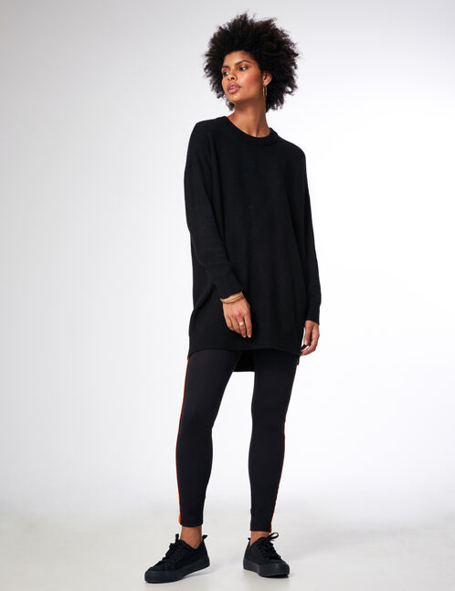 Long black cashmere-feel jumper