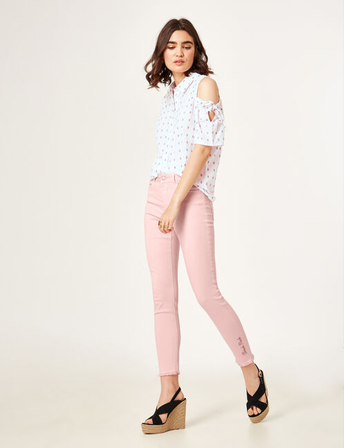 "Light pink ""think pink"" trousers"