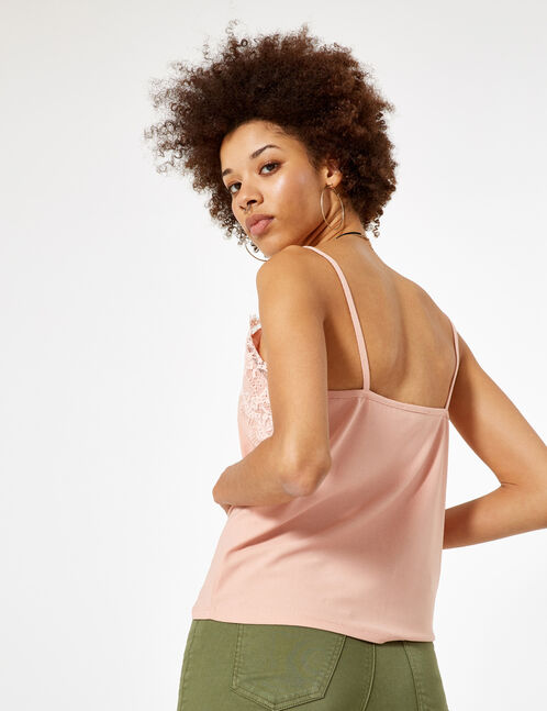 Light pink camisole with lace detail
