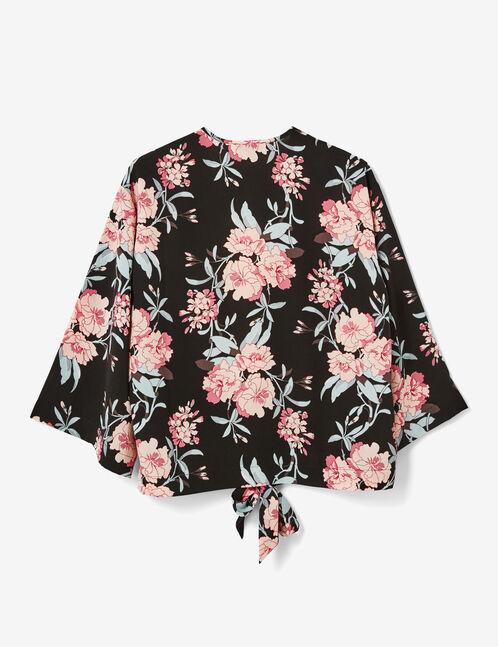 Black floral tie-fastening kimono