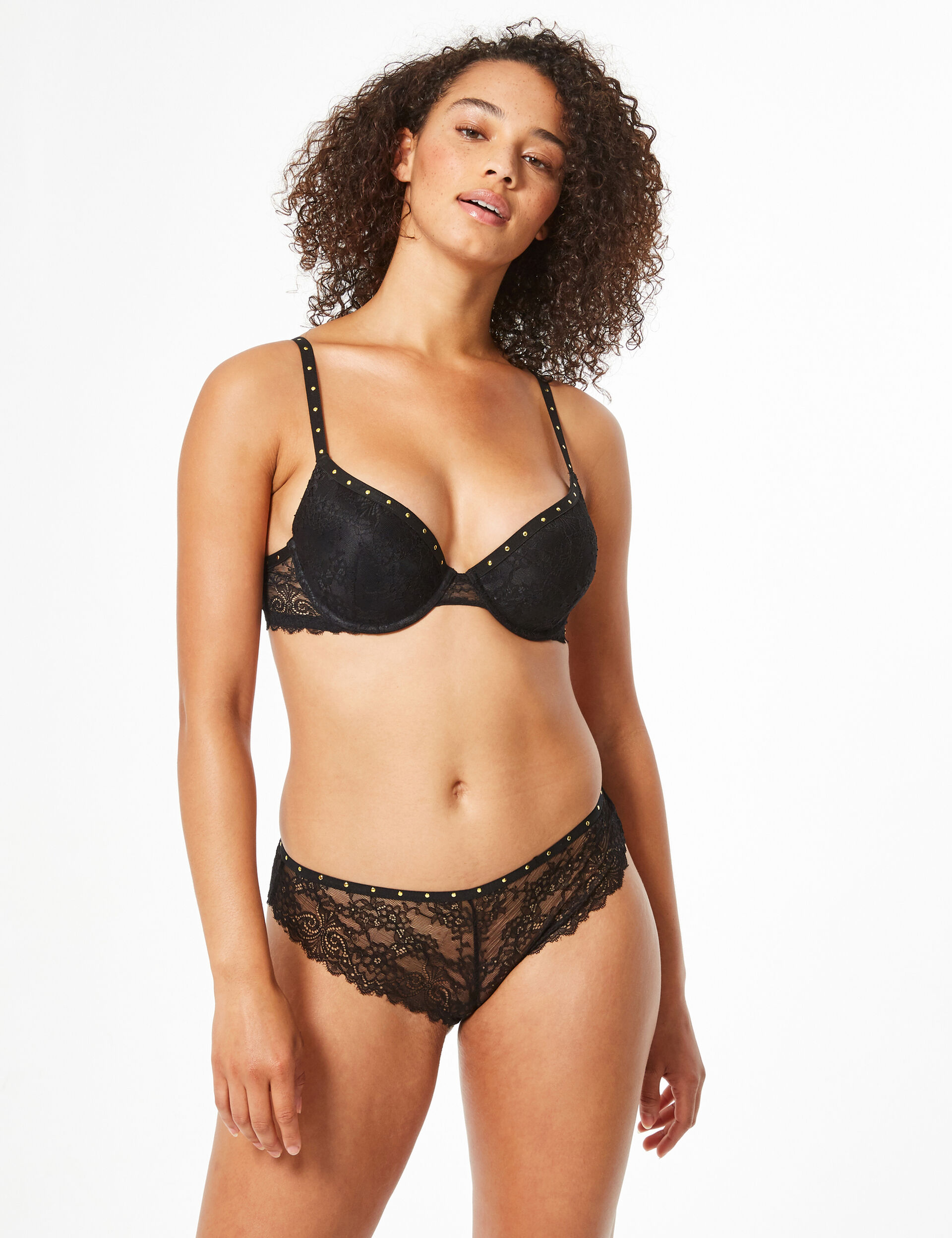 Push-up lace bra with rhinestones