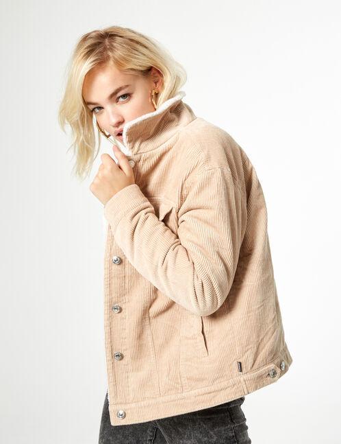 Beige rib-knit velvet jacket