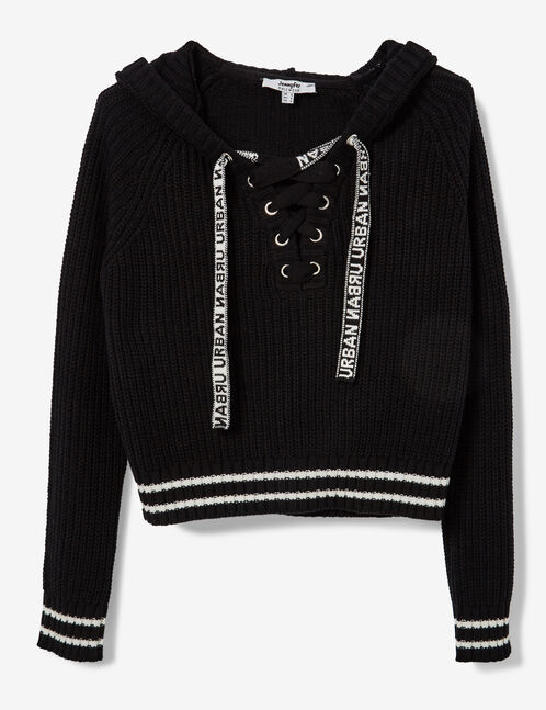 Black hoodie with lacing detail