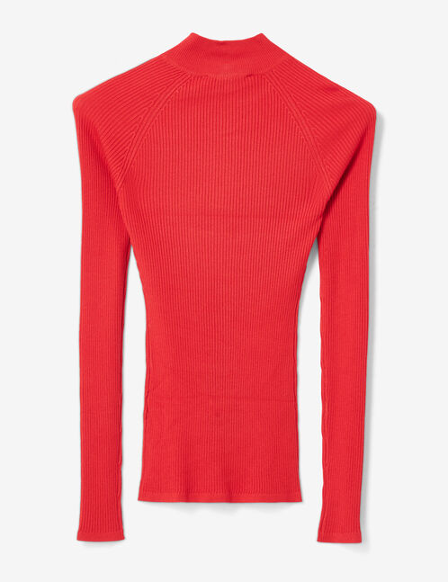 Red ribbed jumper with zip detail