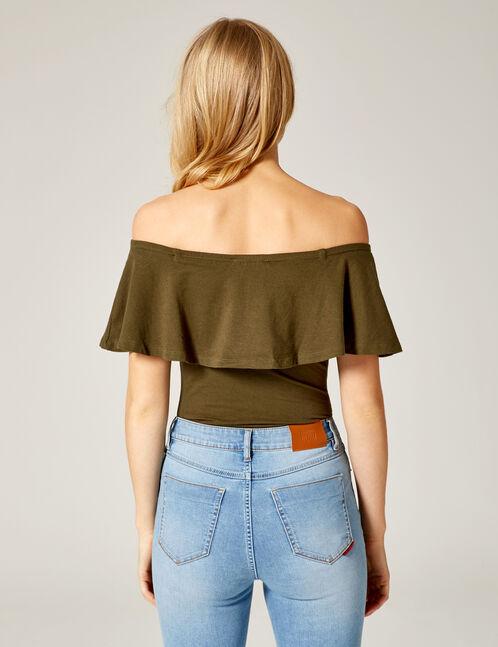 Khaki bodysuit with frill detail