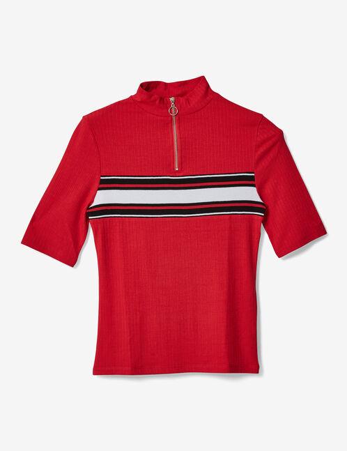 tee-shirt avec bande rayée rouge