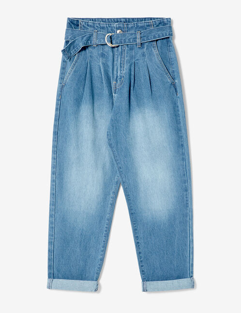 Medium blue paperbag jeans