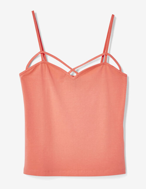Light coral tank top with strap detail