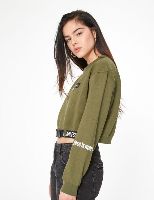 short sweatshirt with belt