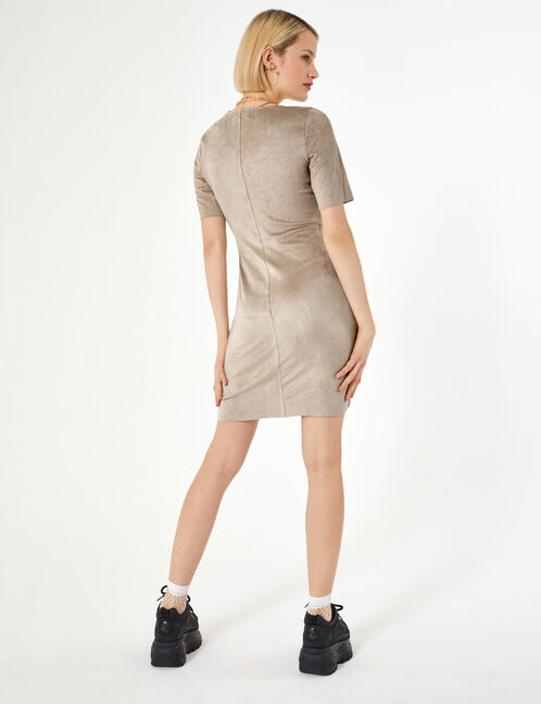Beige faux suede dress