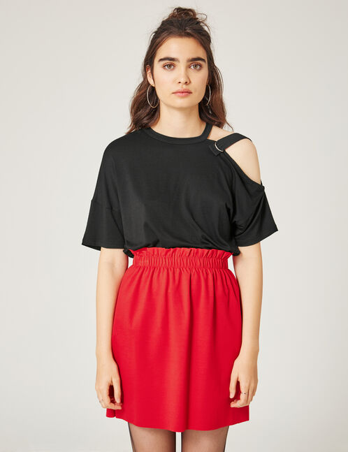 Red ruched skirt