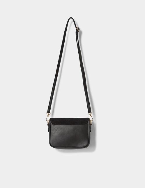 Small black mixed fabric crossbody bag