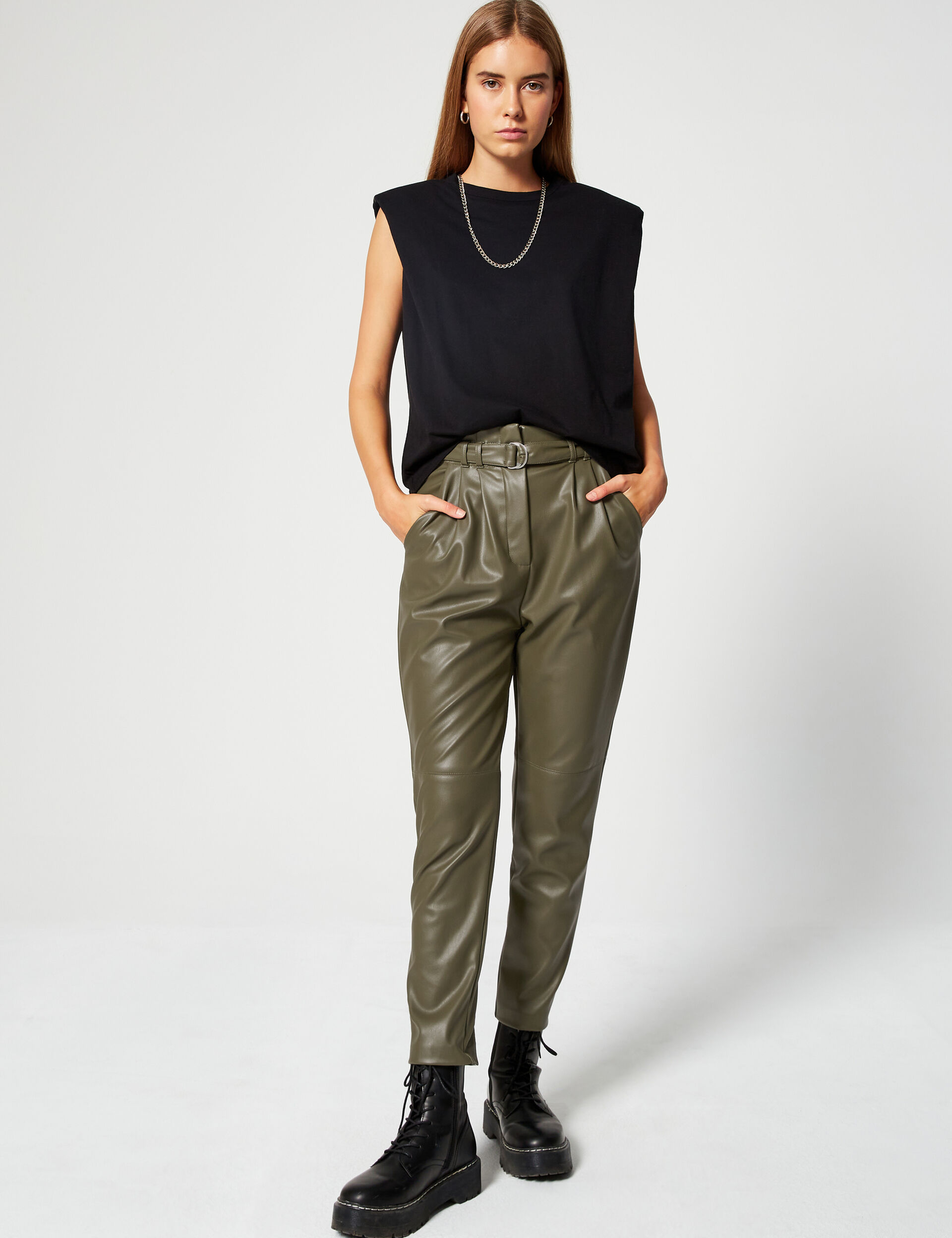 Imitation-leather trousers