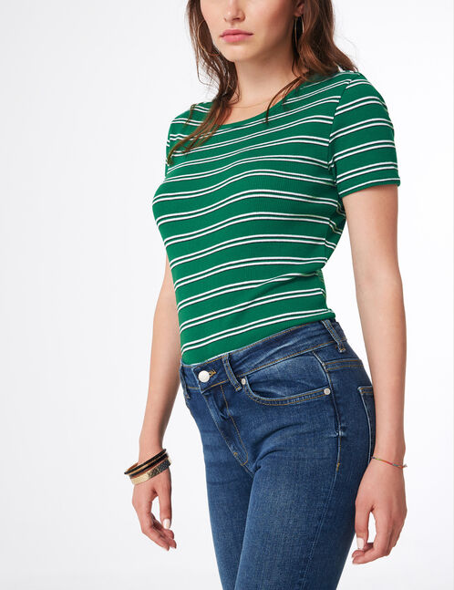 Green, white and black striped T-shirt