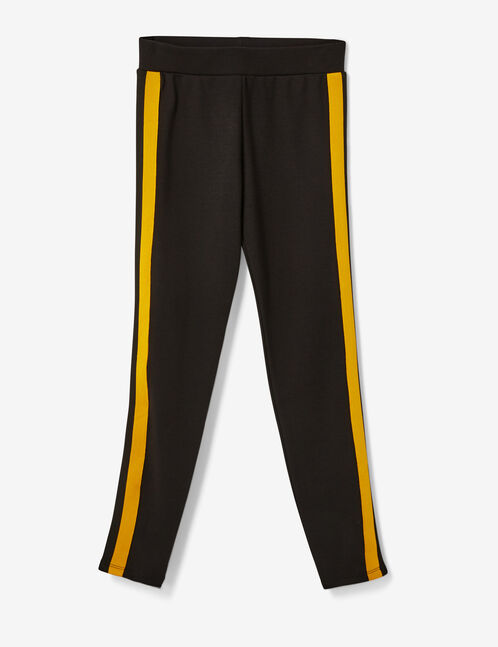 Ochre and black leggings with side trim detail