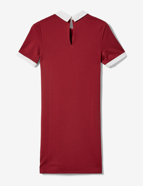 Burgundy dress with white collar detail