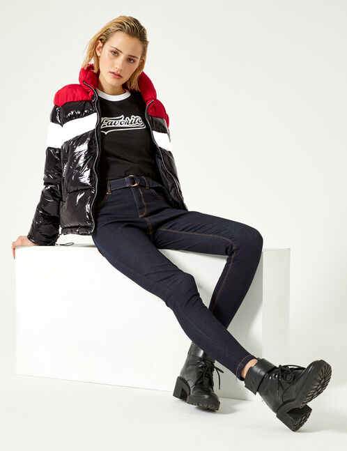 "Black, white and red tricolour ""unique"" padded jacket"