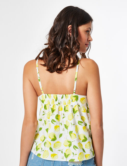 Cream tank top with lemon print