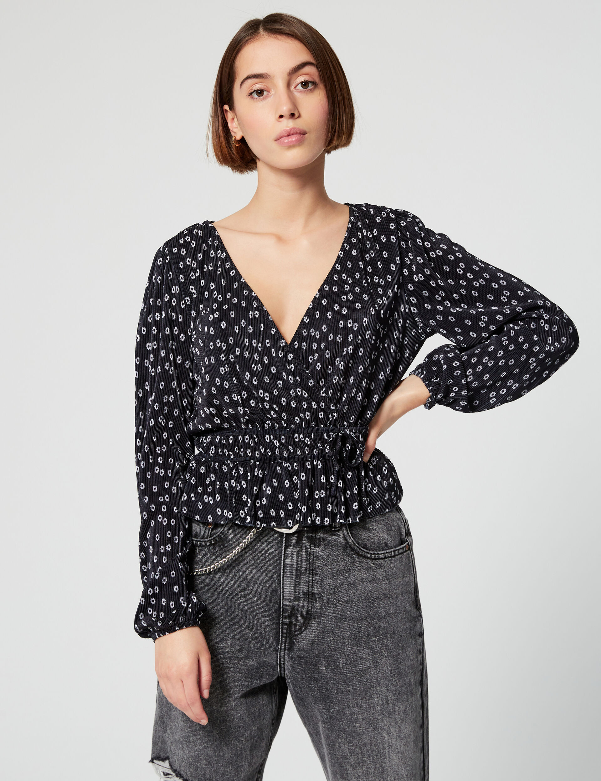 Printed pleated blouse