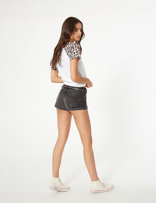 Black low-rise denim shorts